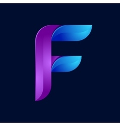 F letter volume blue and purple color logo design vector