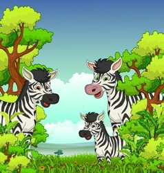 Family of Zebra cartoon with forest background vector image