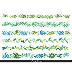 fern and leaves border watercolor hand painting vector image