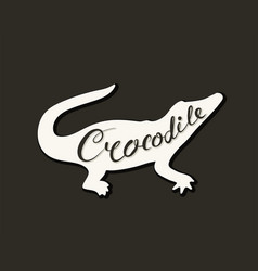 Flat icon of a crocodile vector
