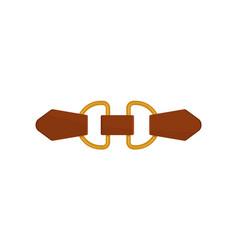 Flat icon of small brown leather belt with vector