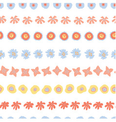 flower rows doodle seamless background vector image