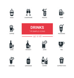 Food theme alcohol and soft drinks - line design vector