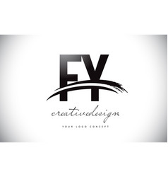 Fy f y letter logo design with swoosh and black vector