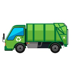 Garbage truck in green color vector
