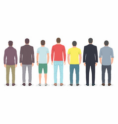 Group of men from back vector