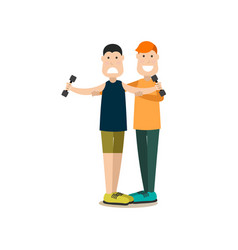 Gym people concept in flat vector