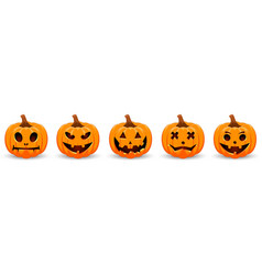 Halloween with pumpkins face holiday vector