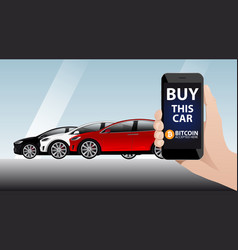 hand with phone on the background of cars vector image