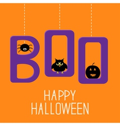 Hanging word boo with spider owl and pumpkin vector