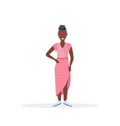 happy casual woman standing pose smiling african vector image