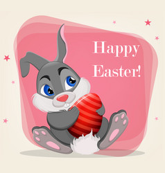 happy easter cute rabbit holding colored egg vector image