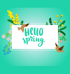 hello spring square banner with spring flowers and vector image