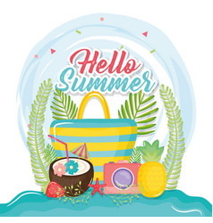 Hello summer poster with holiday icons vector