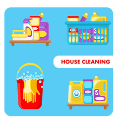 house cleaning tools set vector image