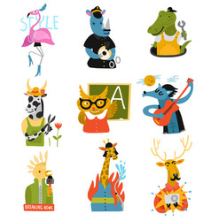 Humanized animals different professions set vector