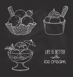 Ice cream bowls over chalkboard vector