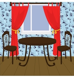 Interior with table and chairs vector
