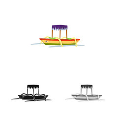 Isolated object boat and sail logo set boat vector