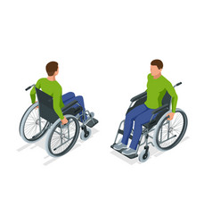 Isometric man in a wheelchair using a ramp vector