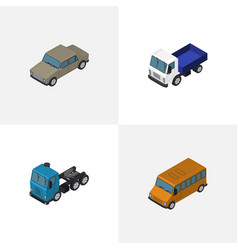 isometric transport set of lorry truck auto and vector image