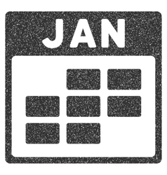 January Calendar Grid Grainy Texture Icon vector