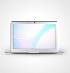 Light laptop with wallpaper isolated on white vector