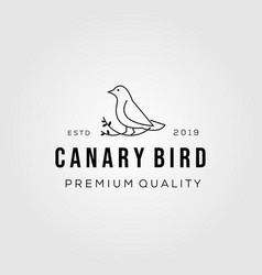 line art canary bird on root logo icon vector image