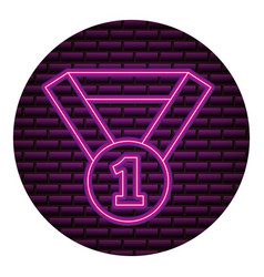 medal award number one neon brick wall vector image