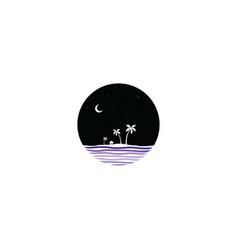 midnight scene island sign symbol vector image