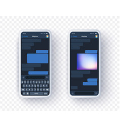 Mobile messanger application mock up on two screen vector