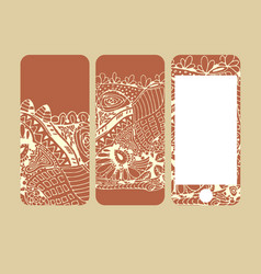 mobile phone cover back and screen pattern vector image