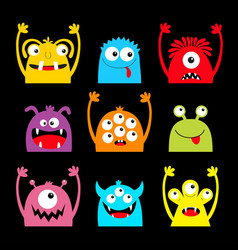 monster colorful silhouette head face icon set vector image