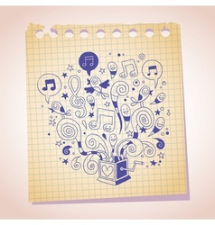 music box note paper cartoon sketch vector image