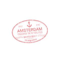 Netherlands visa stamp amsterdam border control vector