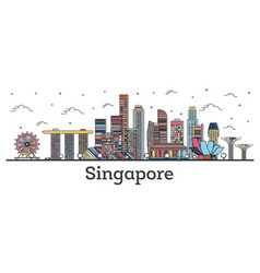 Outline singapore city skyline with color vector