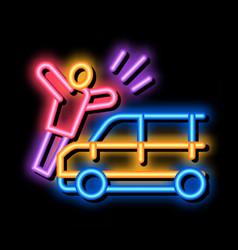 Pedestrian hit car neon glow icon vector