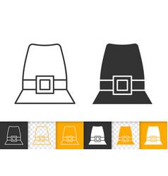 Pilgrim hat simple black line icon vector