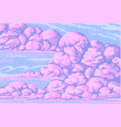 pixel art clouds 8 bit objects pink magic sky vector image