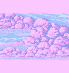 pixel art clouds 8 bit objects pink magic sky vector image