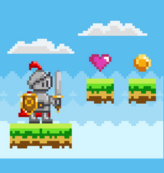 Pixel art style knight in game arcade play vector