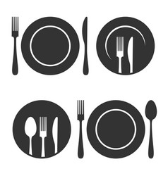 Plate with fork and knife icons set on white vector