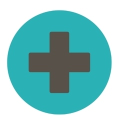 Plus flat grey and cyan colors round button vector