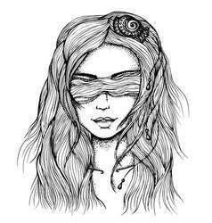 Portrait girl ink drawn vector