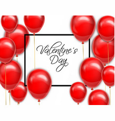 red balloons for valentine day card vector image