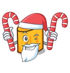 Santa with candy rigatoni mascot cartoon style vector