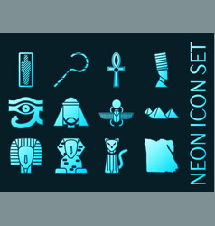 se egypt blue glowing neon icons vector image