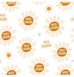 seamless floral pattern hello sunshine vector image