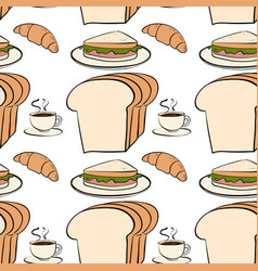 Seamless pattern tile cartoon with bread and vector