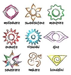 set chakras symbols vector image